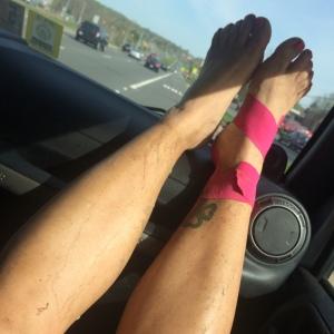 Post-race muddy legs and feet!